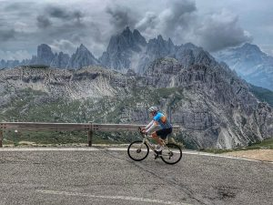 Cyclist in the Dolomites